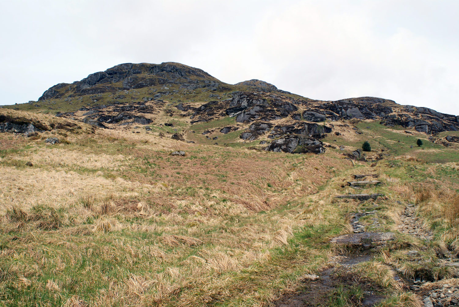 The path leads to the first real rocky section of the route with a little bit of scrambling needed.