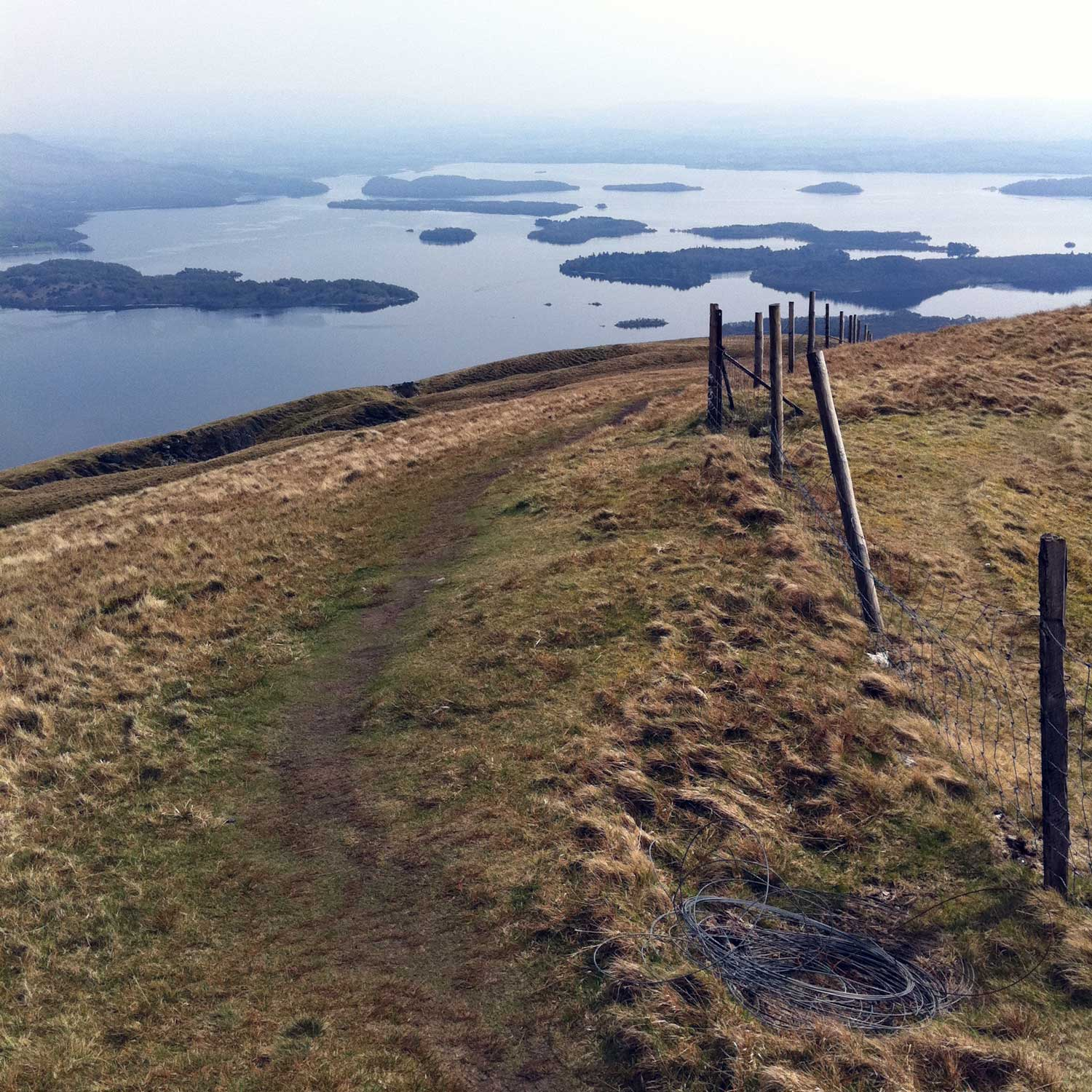 Just before jumping the style near the top, a great view of Loch Lomond.