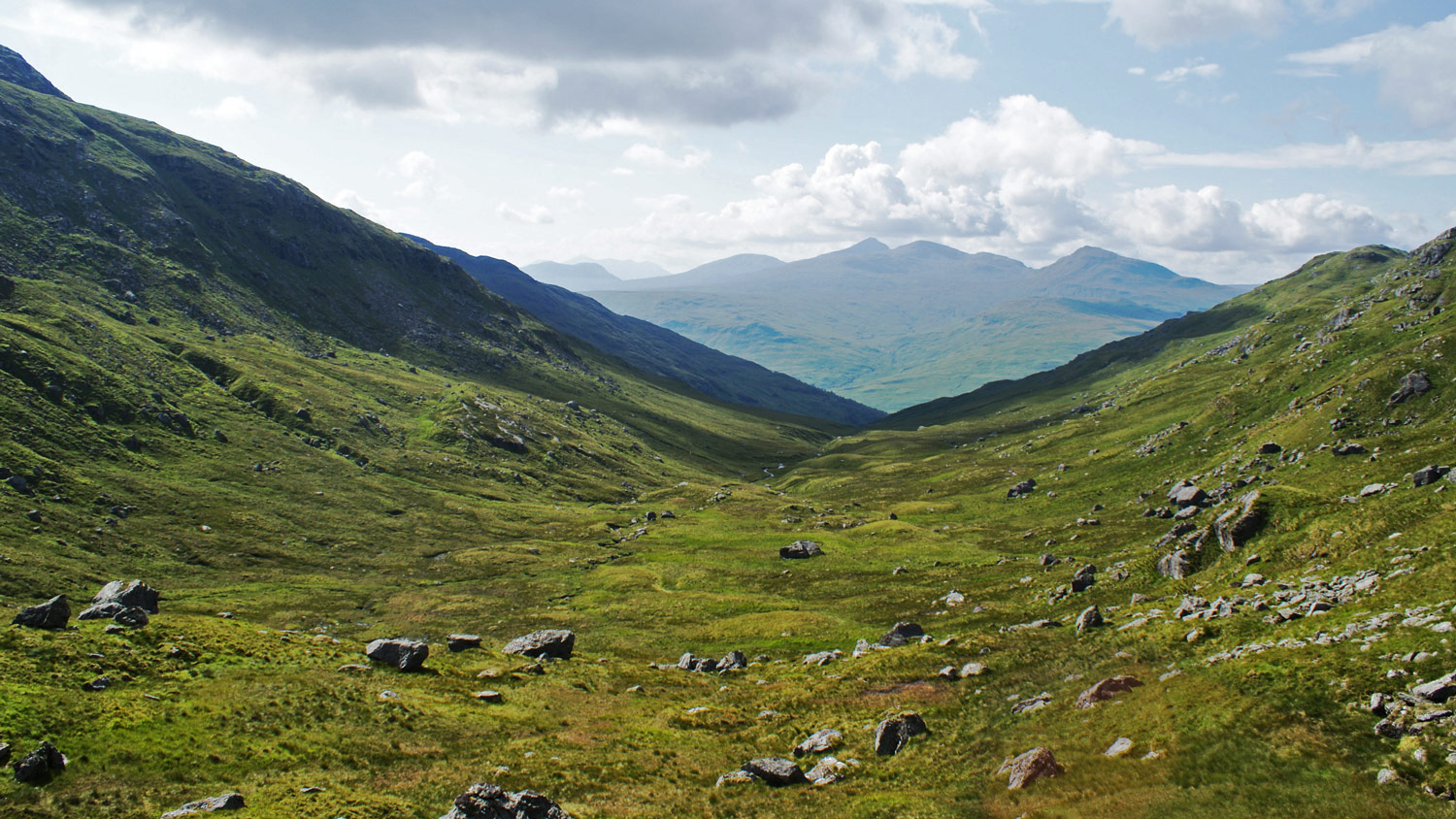 Looking down Coire a' Chuilinn towards Ben Lui.