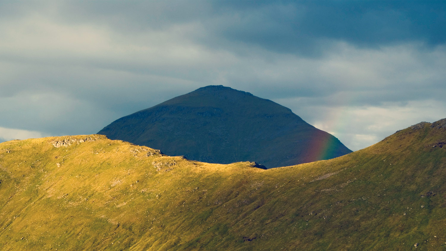 Ben More (1174m) and a rainbow.