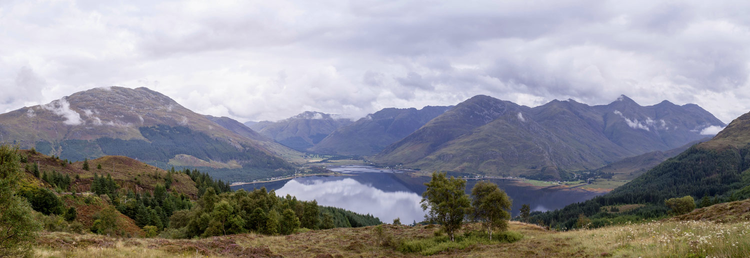 Looking over Loch Duich towards the Five Sisters of Kintail.