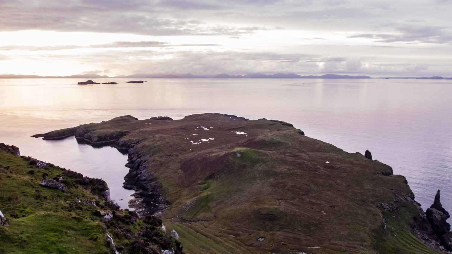 Arrived at The Lookout bothy, this was our view north towards Lewis and Harris across the Hunish headland.