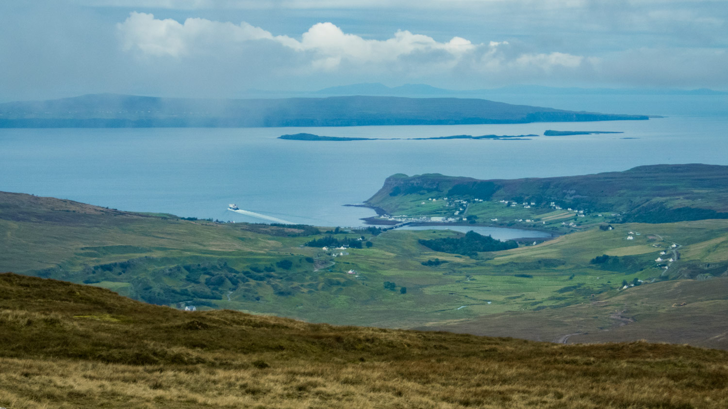A brief break in the clouds to the west looking down over Uig and beyond.