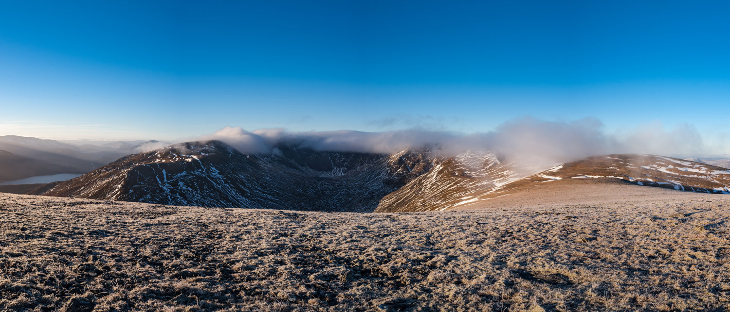 The cloud looms over Coire Ardair.