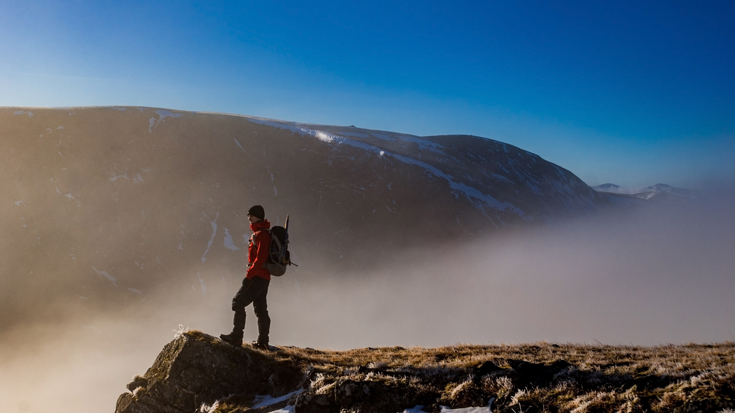 Admiring the views of Coire Ardair with Creag Meagaidh towering above me.