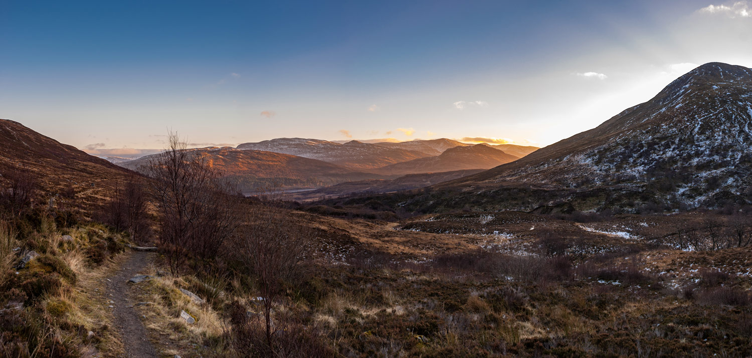Descending back down as the sun sets over Glen Spean.
