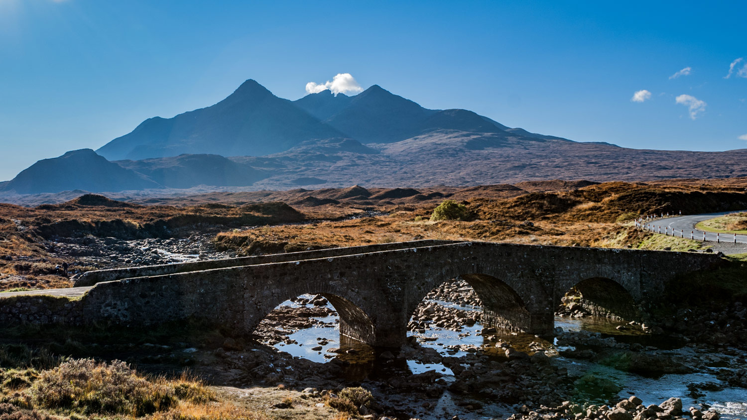 Sligachan Bridge with the Cuillin.