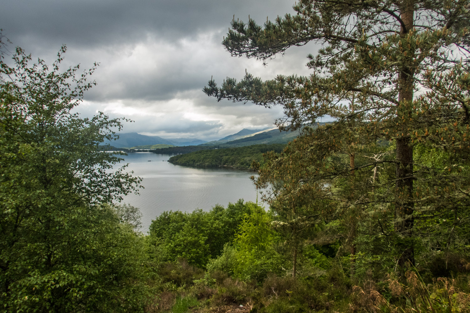 Looking down to a cloud covered Loch Lomond.