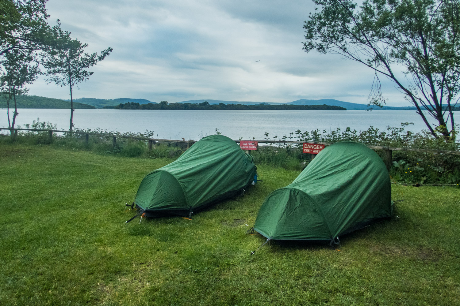 After nearly 22 miles, we could lie down and relax at Milarrochy Campsite.