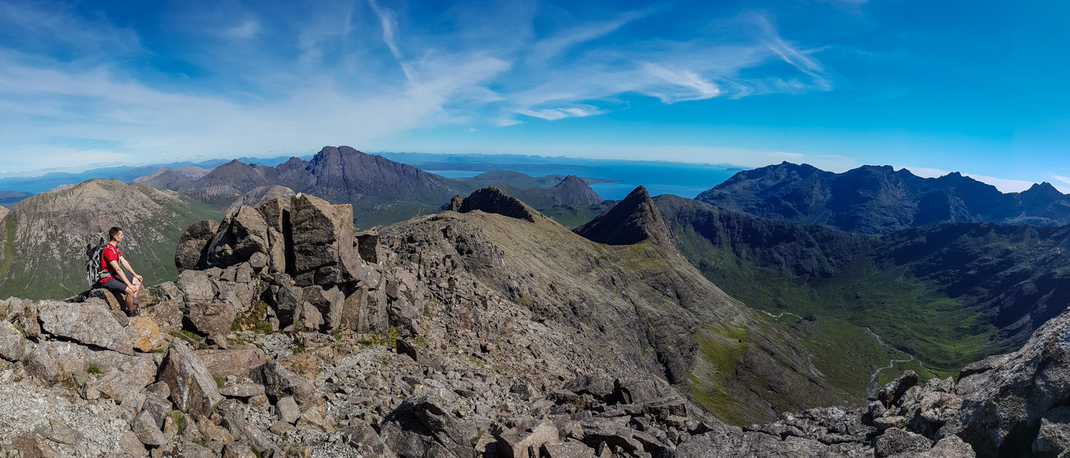 Taking a break to soak in the final views of the Cuillin from the south east ridge of Sgurr nan Gillean.