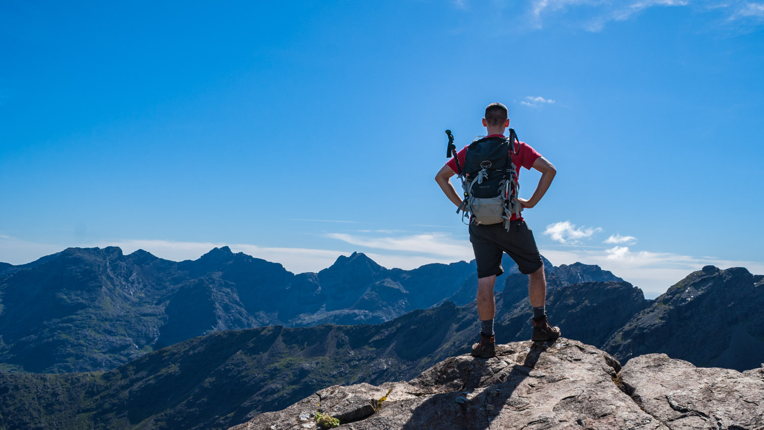 Admiring the views of the Cuillin from the south east ridge.