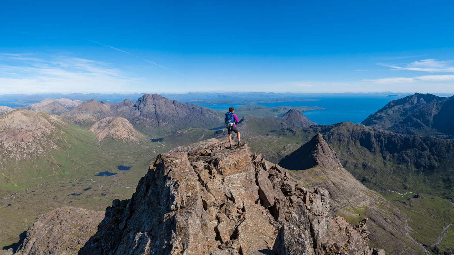 Enjoying one last view of the Cuillin from the summit.