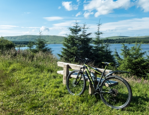 A perfect spot for a break overlooking the reservoir with the Fintry Hills behind it.