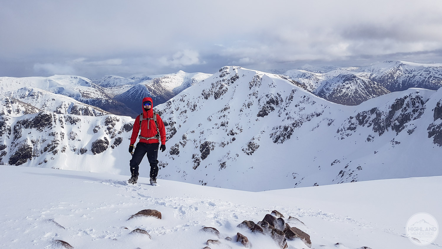 Standing on the summit with the elusive Stob Coire Sgreamhach behind me.