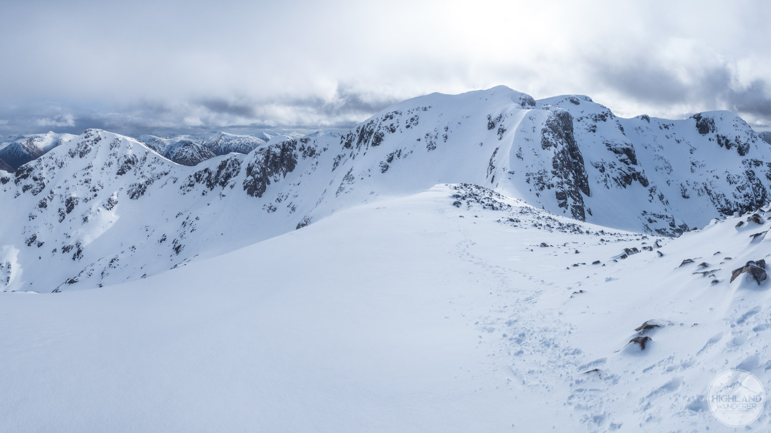 Extensive views back across the whole Bidean nam Bian range from the summit of Stob Coire nan Lochan.