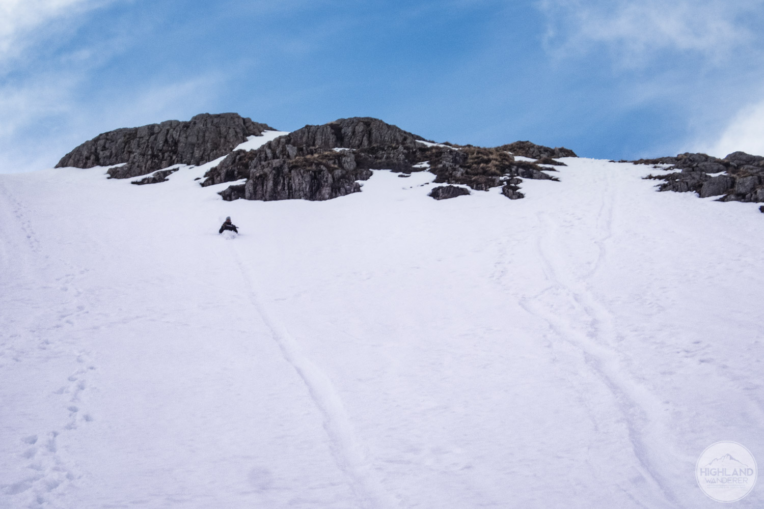 The quickest way back to Glen Coe? Glissading of course!